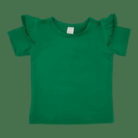 Emerald Green Short Sleeve Flutter Tee