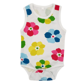 Colourful Flowers Pattern Sleeveless Bodysuit