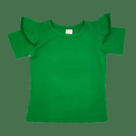 Forest Green Short Sleeve Flutter Tee