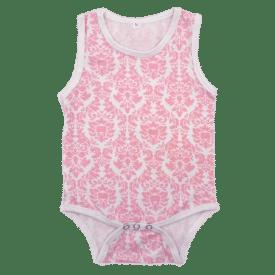 Light Pink Damask Pattern Sleeveless Bodysuit