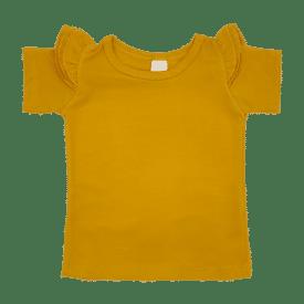 Mustard Short Sleeve Flutter Tee
