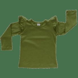 Olive Green Long Sleeve Winter Fluttertop