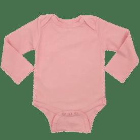 Peachy Pink Long Sleeve Envelope-Bodysuit