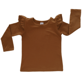 Saddle Brown Long Sleeve Winter Fluttertop