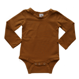 saddle brown long sleeve bodysuit