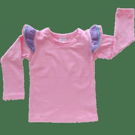 Tri Bubblegum Pink Long Sleeve fluttertop