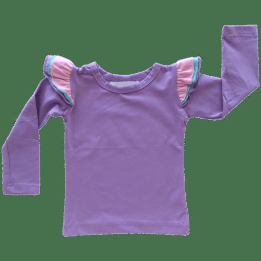 Tri Lavender Long Sleeve fluttertop