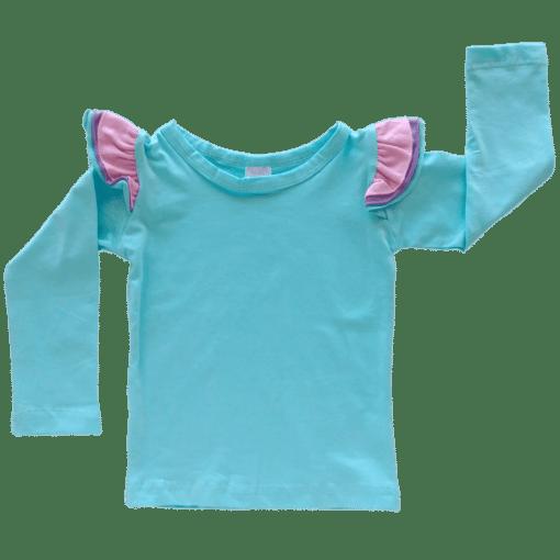 Tri-Light Blue Long Sleeve fluttertop