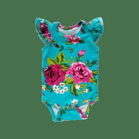Aqua Floral Basic Sleeveless Fluttersuit / Onesie