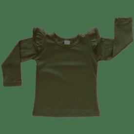 Army Green Long Sleeve Winter Fluttertop