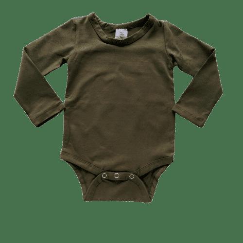 Army Green / Dark Olive Green Long Sleeve Basic Bodysuit / Onesie