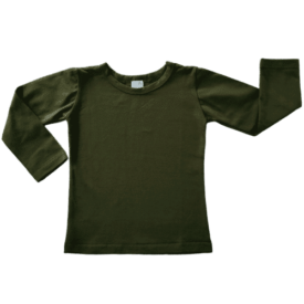 Army Green Long Sleeve Basic Top
