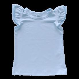 Baby Blue Sleeveless Flutter Top
