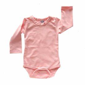 Baby Pink / Peachy Pink Long Sleeve Basic Bodysuit / Onesie