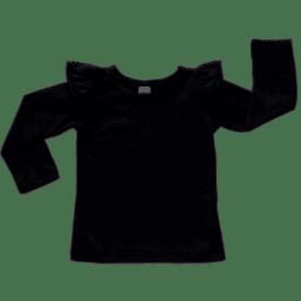 Black Long Sleeve Winter Fluttertop