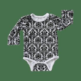 Black Damask Long Sleeve Basic Bodysuit / Onesie