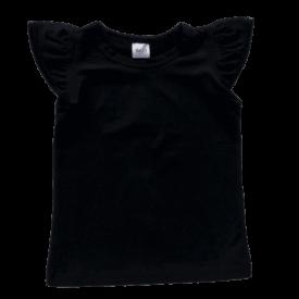 Black Sleeveless Flutter Top