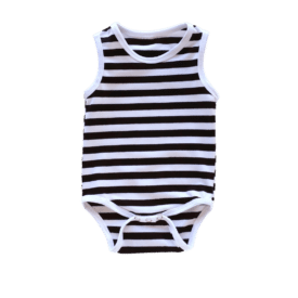 Black Stripe Sleeveless Bodysuit / Onesie