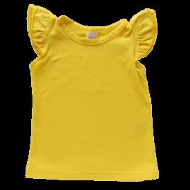 Bright Yellow Sleeveless Flutter Top
