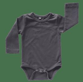 Charcoal Long Sleeve Basic Bodysuit / Onesie