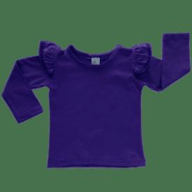 Dark Purple Long Sleeve Fluttertop
