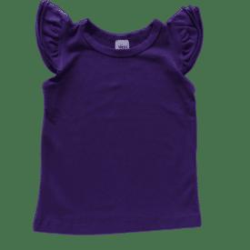 Dark Purple Sleeveless Flutter Top
