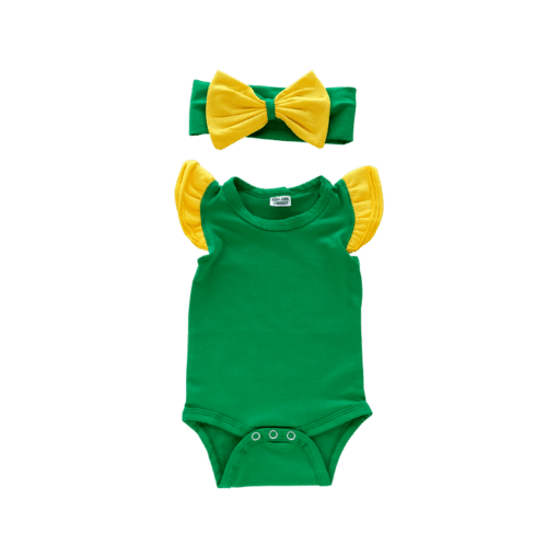 Green & Gold Basic Sleeveless Fluttersuit / Onesie