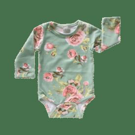 Green Floral Long Sleeve Basic Bodysuit / Onesie