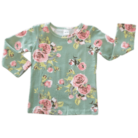 Green Floral Long Sleeve Basic Top