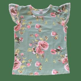 Green Floral Sleeveless Flutter Top