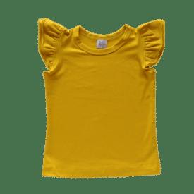 Mustard Sleeveless Flutter Top