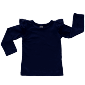 Navy Long Sleeve Fluttertop