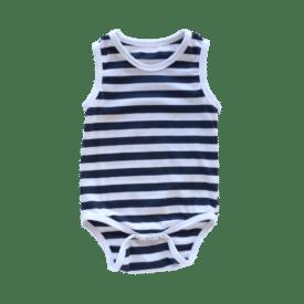Navy Blue Stripe Sleeveless Bodysuit / Onesie