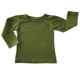 Olive Green Long Sleeve Basic Top