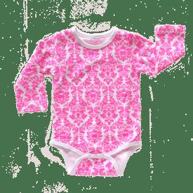 Pink Damask Long Sleeve Bodysuit