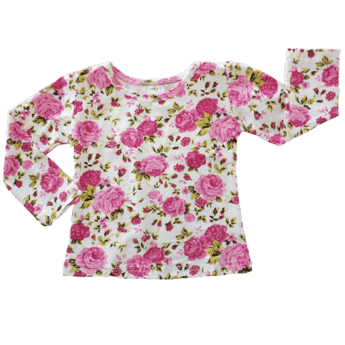 Pink Roses Long Sleeve Basic Top