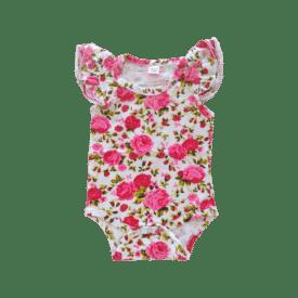 Pink Roses Basiic Sleeveless Fluttersuit / Onesie