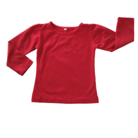 Red Long Sleeve Basic Top