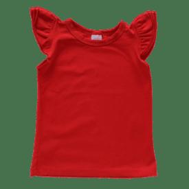 Red Sleeveless Flutter Top