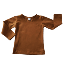 Saddle Brown Long Sleeve Basic Top