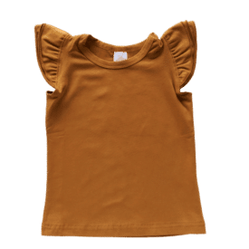 Saddle Brown Sleeveless Flutter Top
