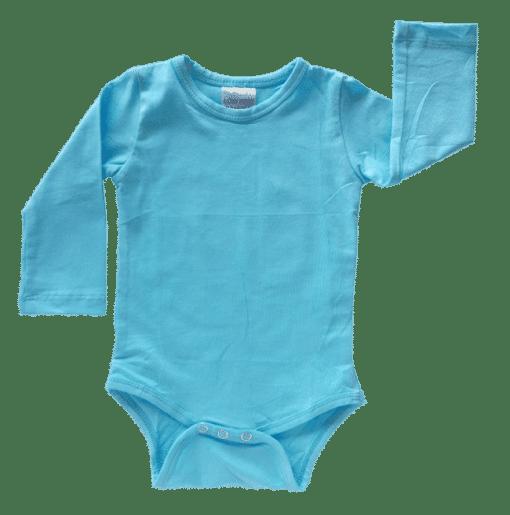 Sky Blue Long Sleeve Basic Bodysuit / Onesie