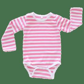 stripey pink long sleeve bodysuit