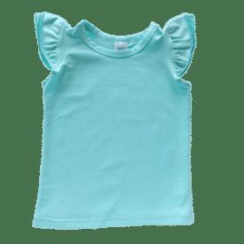 Tiffany Blue Sleeveless Flutter Top