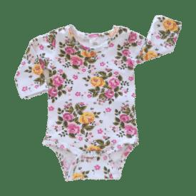 Vintage Blossom Long Sleeve Basic Bodysuit / Onesie
